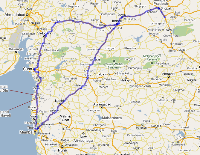 Map of Drive to Central India