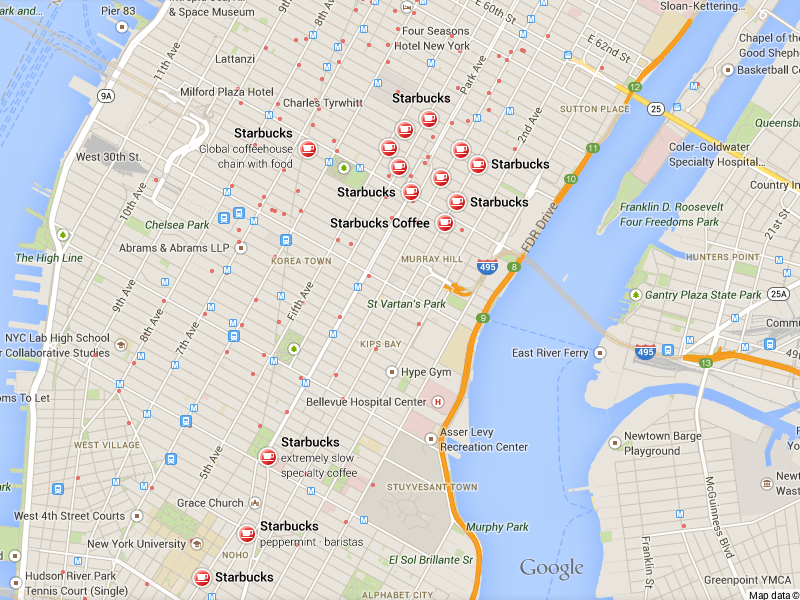 Google Map Snap of Starbucks outlets in New York