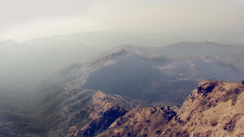 View of the Sahyadri Mountain Range from Pratapgad