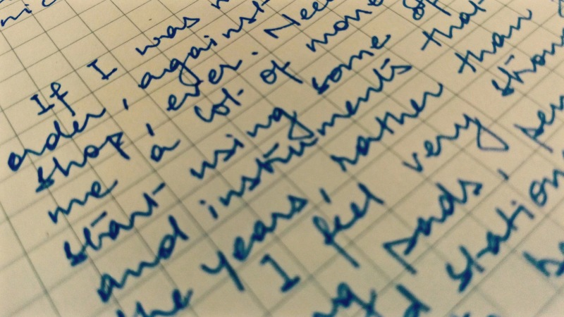 Photograph of handwritten post